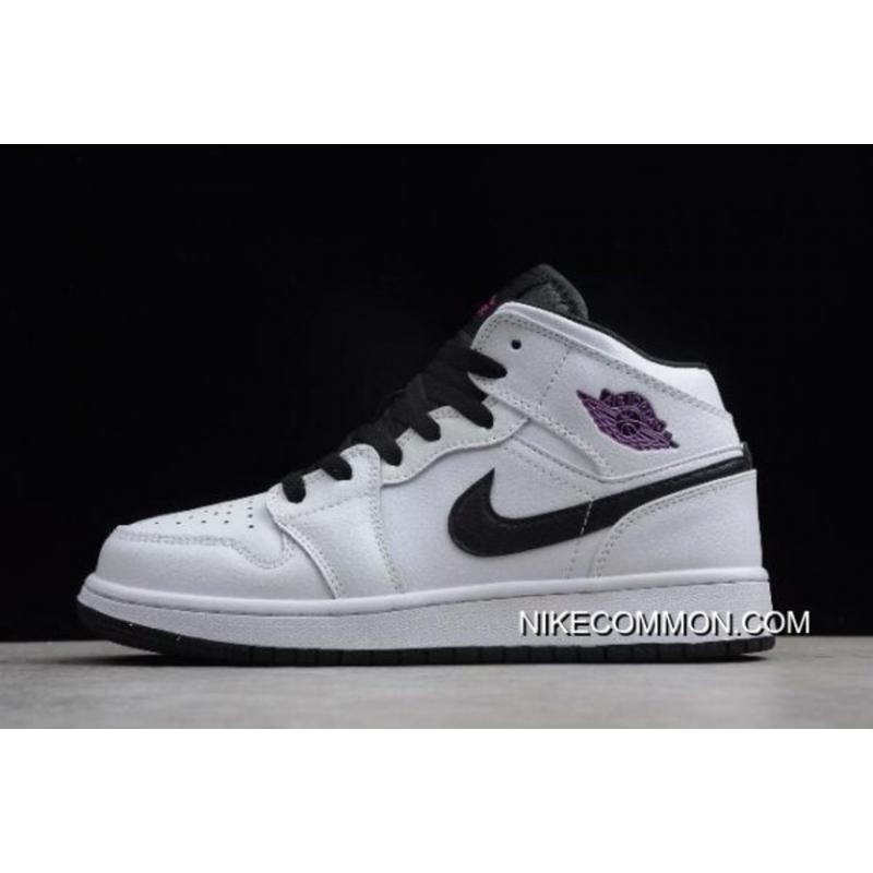 7f17541c5687 Women Air Jordan 1 Mid GS White/Black-Purple 555112-138 Free Shipping ...
