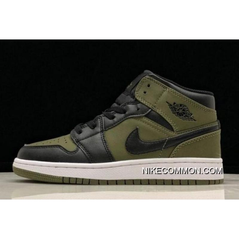Women New Release Air Jordan 1 Mid GS Olive Canvas Black-White 554725- ... 7052e0136