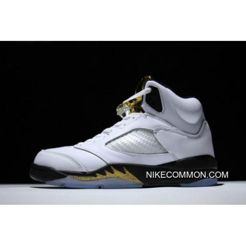 "5147e30855ff4d Women Men New Air Jordan 5 Retro ""Olympic"" White Black-Metallic Gold ..."