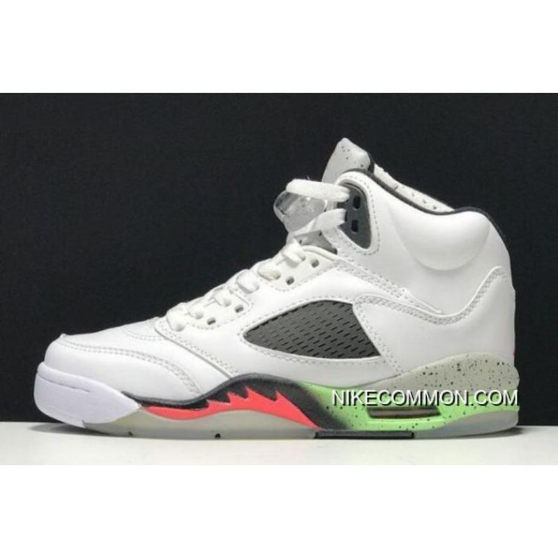 "Women Men Air Jordan 5 Retro ""Poison Green"" White Infrared 23-Light ... e44016a77"