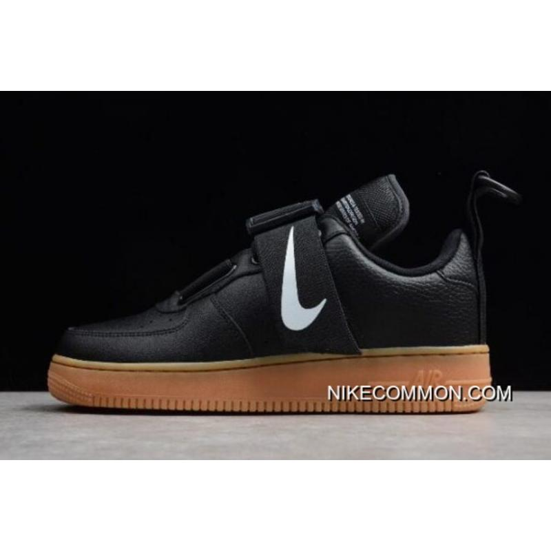 27b301507940c Women/Men Nike Air Force 1 Utility Black/White-Gum Med Brown AO1531 ...