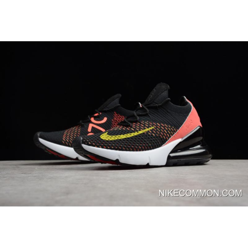 3ae809d87c ... Discount Women's Nike Air Max 270 Flyknit Black/Red White-Yellow AH6803- 003 ...