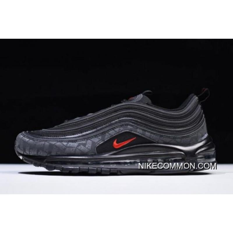 "WomenMen Nike Air Max 97 ""Reflective Logo"" BlackUniversity Red AR4259 001 Outlet"