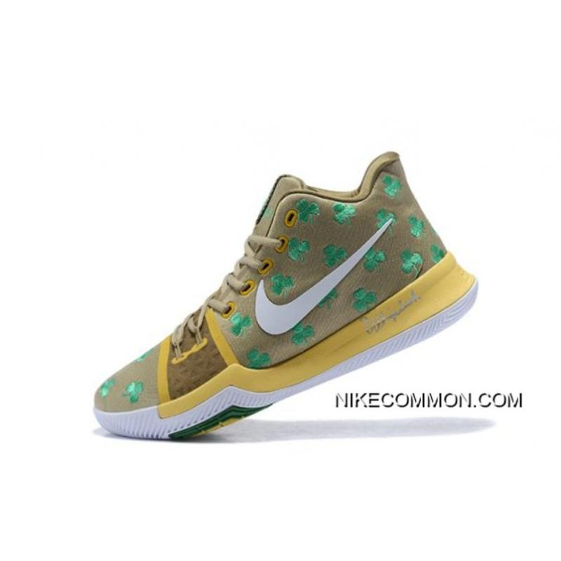 "7c153baa2ff Boston Celtics Nike Kyrie 3 ""Luck"" PE Men s Basketball Shoes Discount ..."